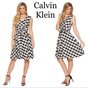 NEW Calvin klein gingham fit & flare faux wrap👗